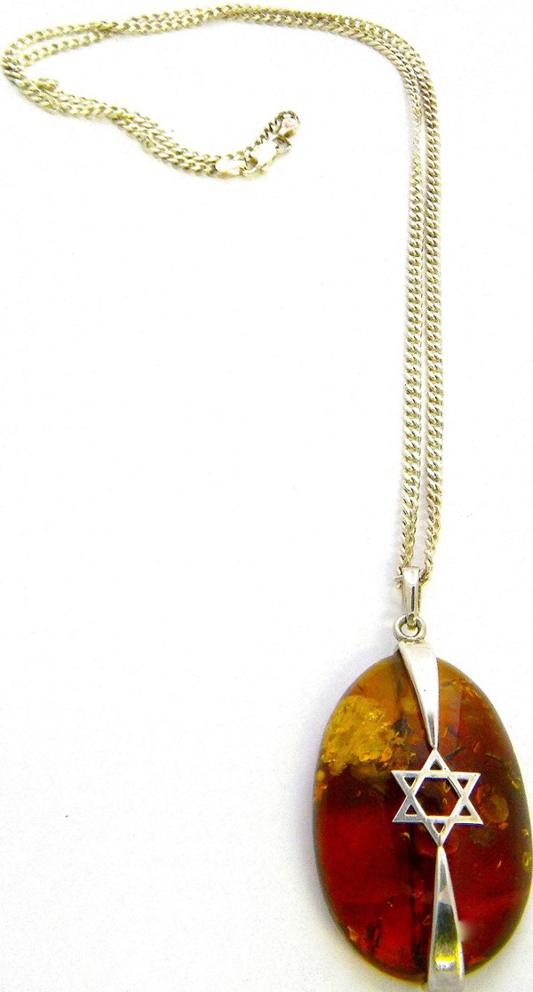 Cognac Baltic amber pendant with Star of David