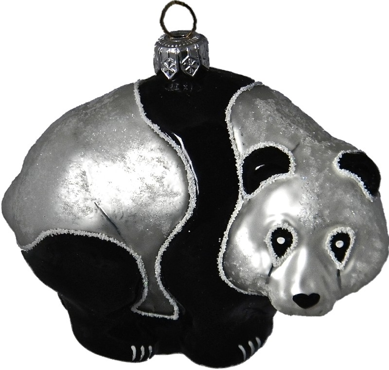 Panda glass Christmas ornament