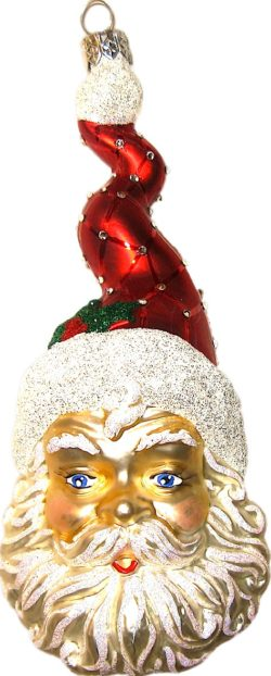 Zigzag Santa glass Christmas ornament