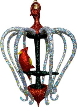 The silver cage free blown glass Christmas ornament