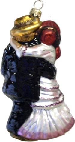 Renoir's Dance in Bougival glass Christmas ornament