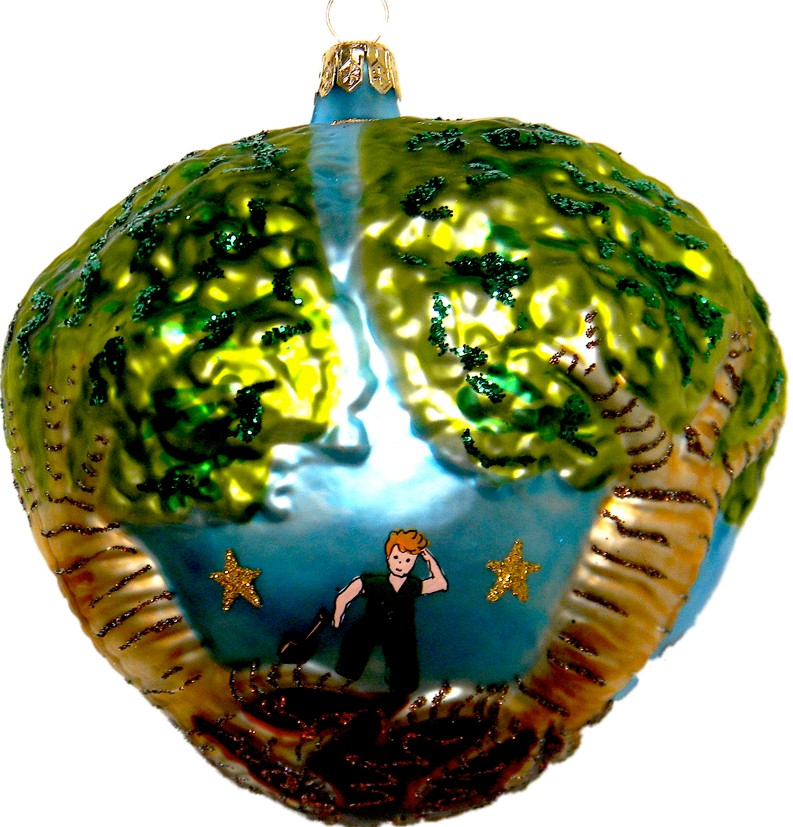 Baobabs overrunning the Little Prince planet glass Christmas ornament