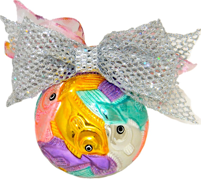 Carved ball Fish After Escher
