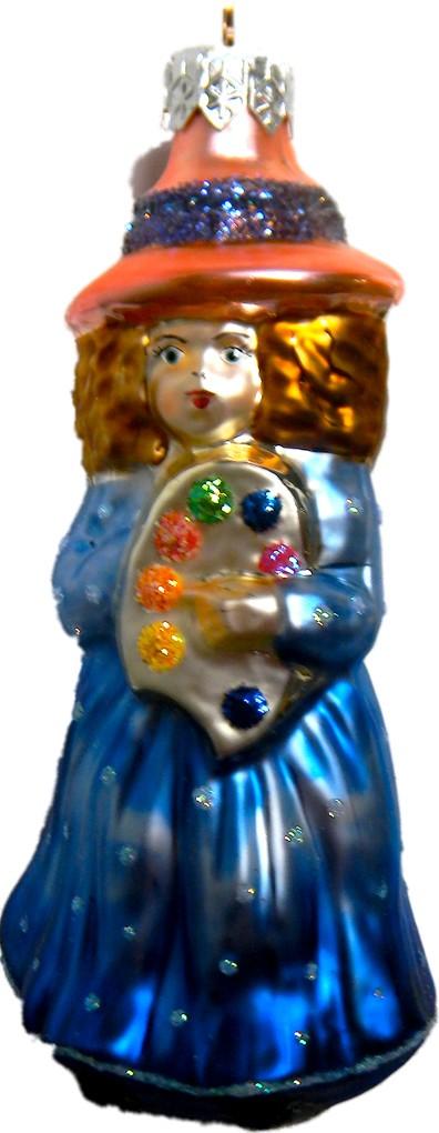 Little Painter girl glass Christmas ornament