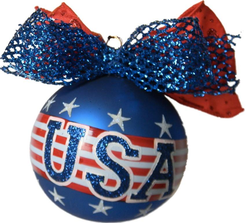 USA patriotic glass Christmas ornament