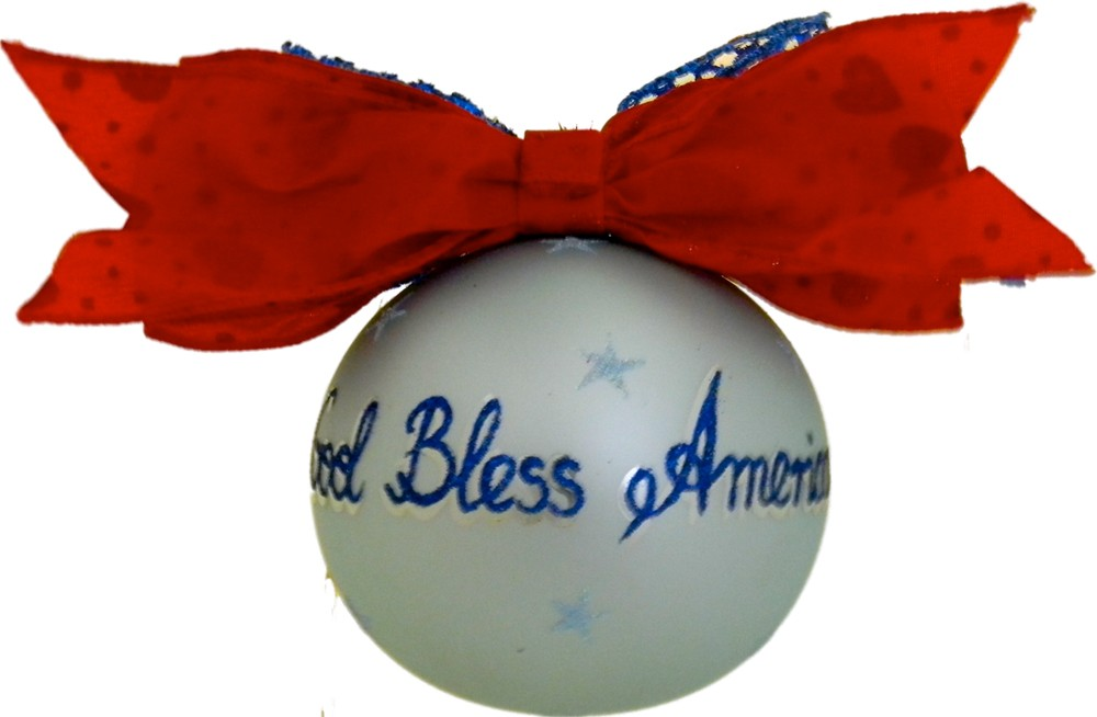 Hail the Flag glass Christmas ornament