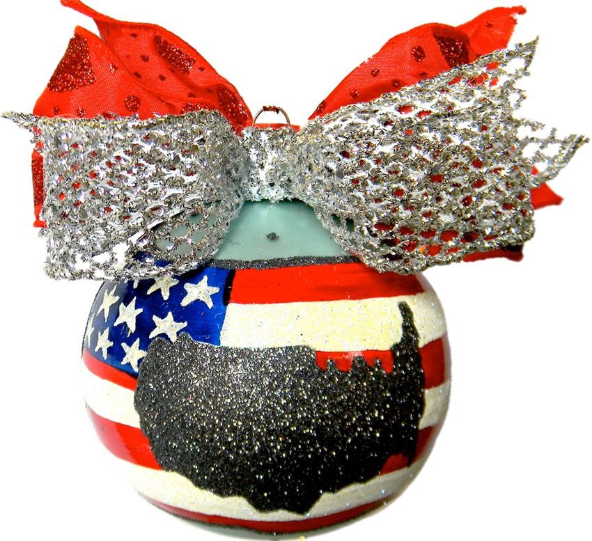 Patriotic America's glass Christmas ornament
