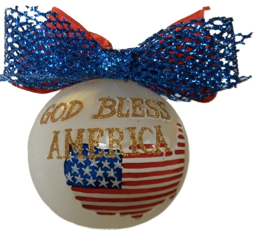 God Bless America glass Christmas ornament