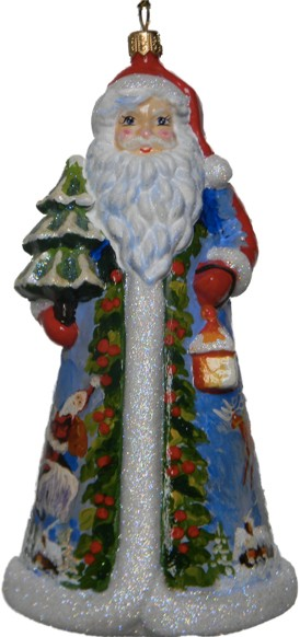 Prairies Santa Glass Christmas ornament