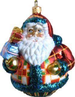 Rotound Santa glass Christmas ornament