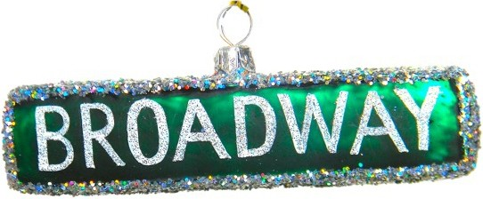 glass Christmas ornament of Broadway Steet Sign