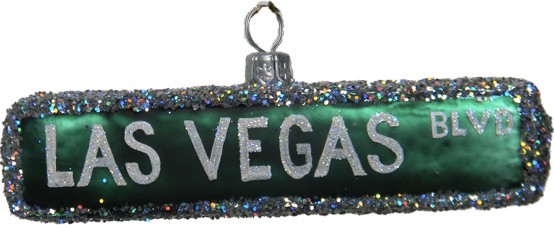 Las Vegas Blvd Street Sign Glass Christmas Ornament