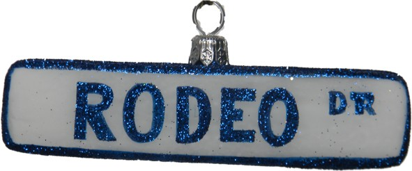 Rodeo Drive Street Sign glass Christmas ornament