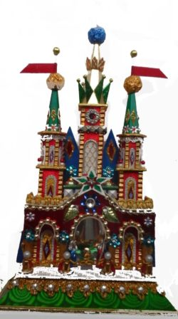 Green spires Krakow Nativity szopka with pearls and Swarovski crystals