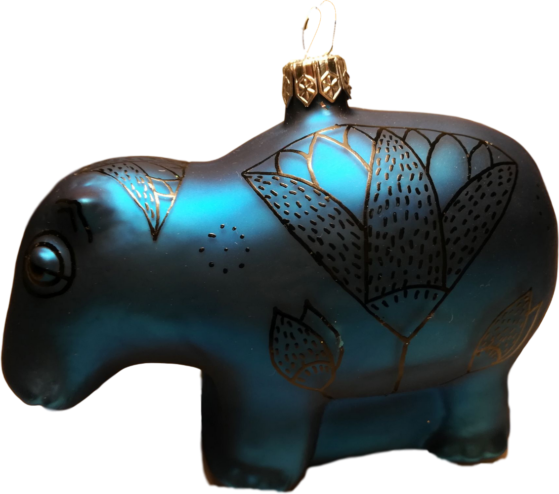 William the blue Egyptian hippo glass Christmas ornament- side view
