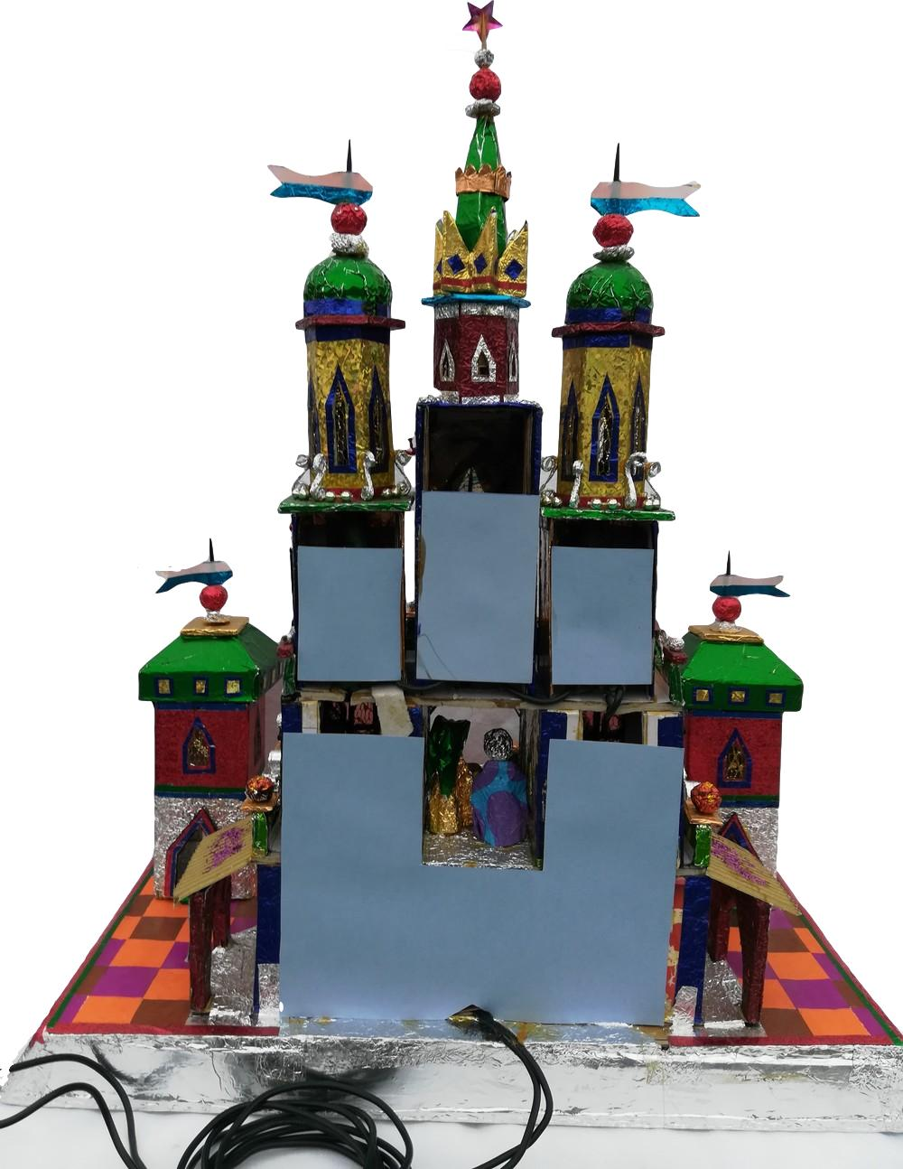 One of a kind Krakow Nativity with three kings and Krakow name and flag back view