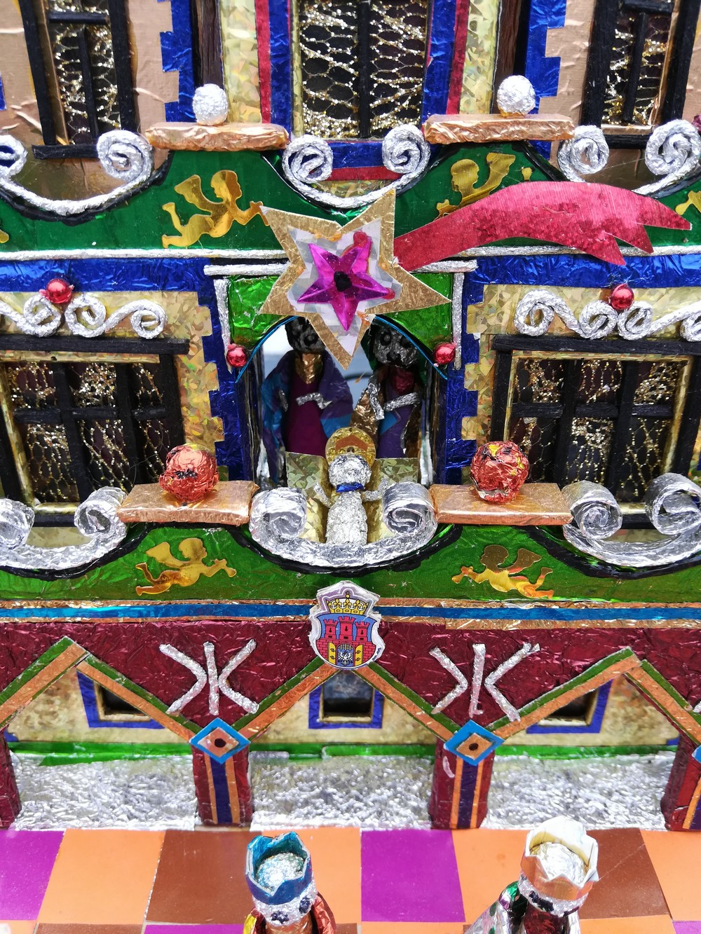 One of a kind Krakow Nativity with three kings and Krakow name and flag front detail-Holy Family