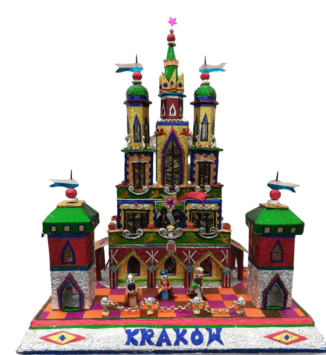 One of a kind Krakow Nativity with three kings and Krakow name and flag