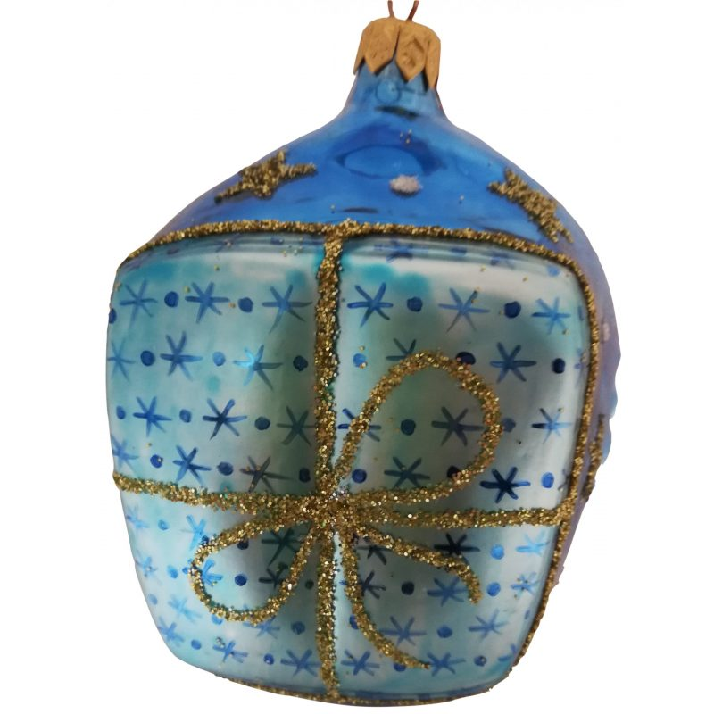 Santa head glass ornament back the gift