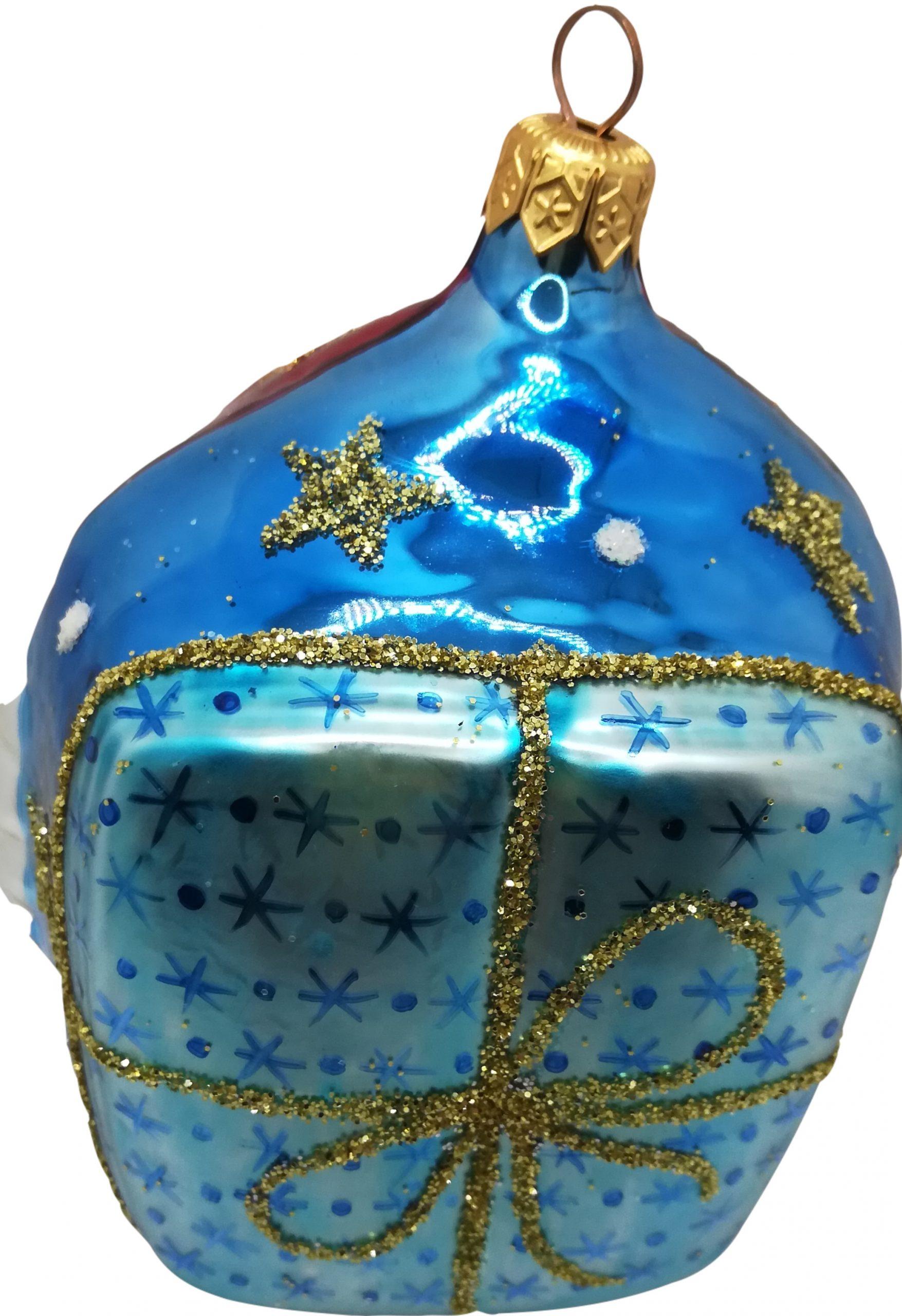 Santa head glass ornament -back