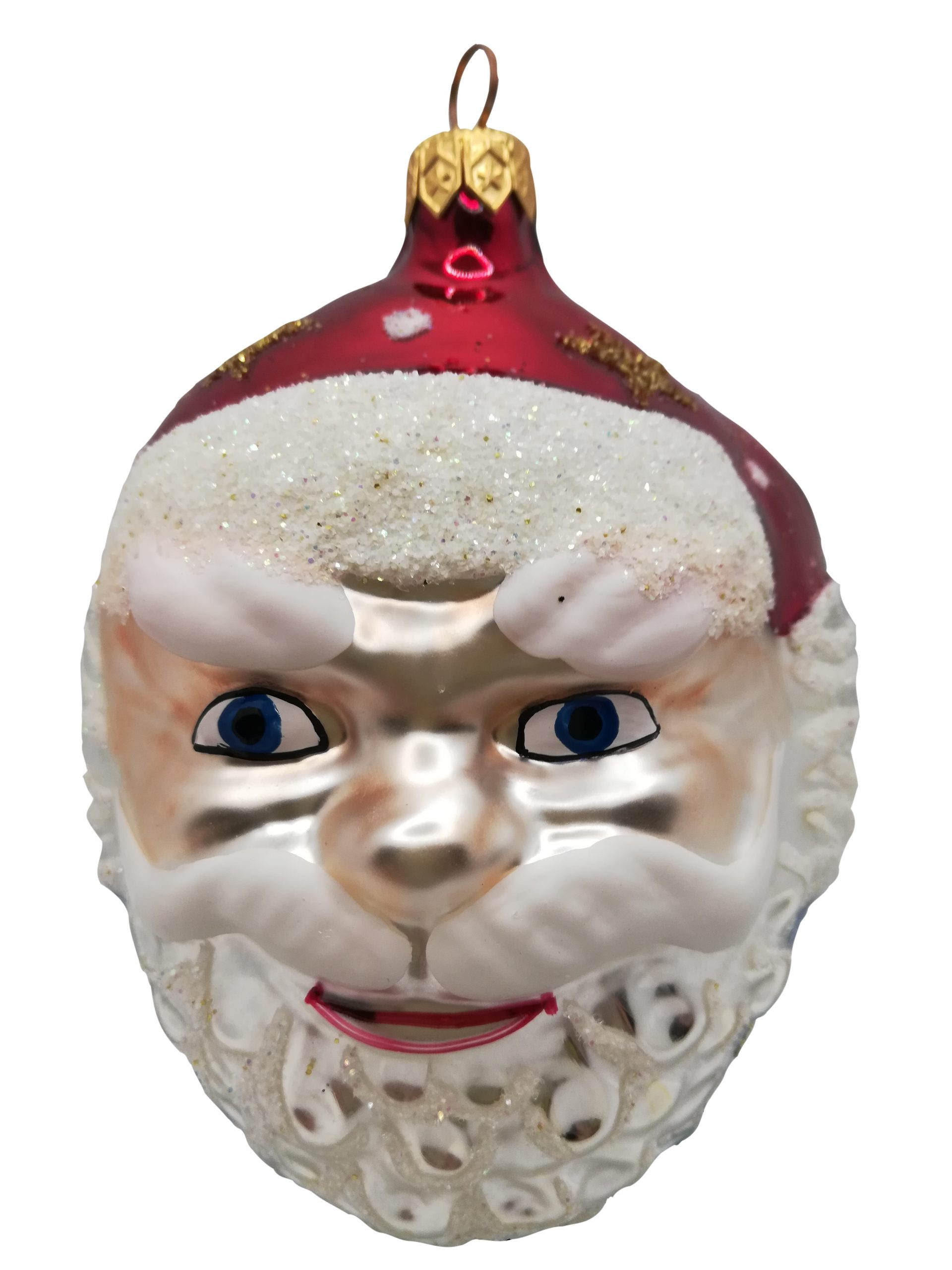 Santa head glass Christmas ornament