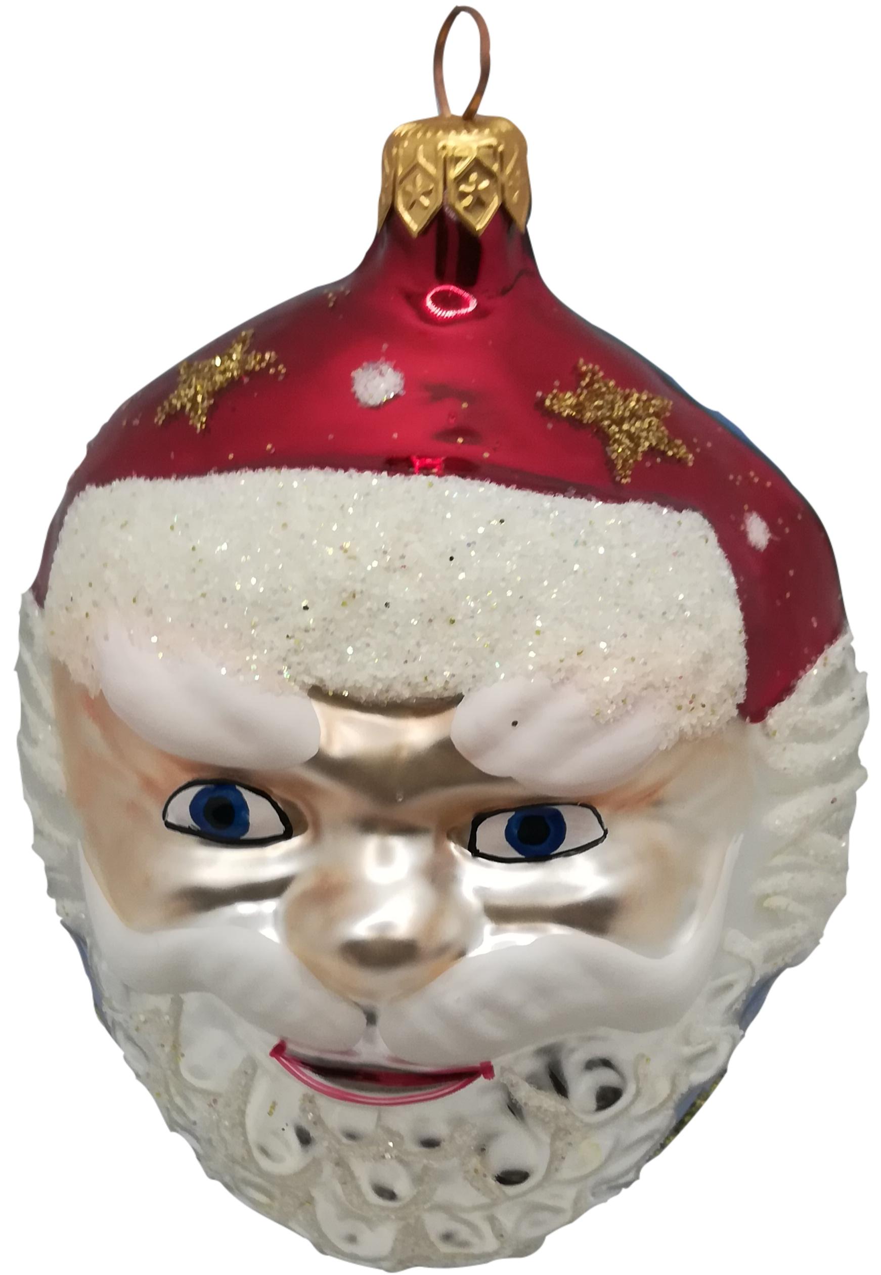 Santa head glass ornament