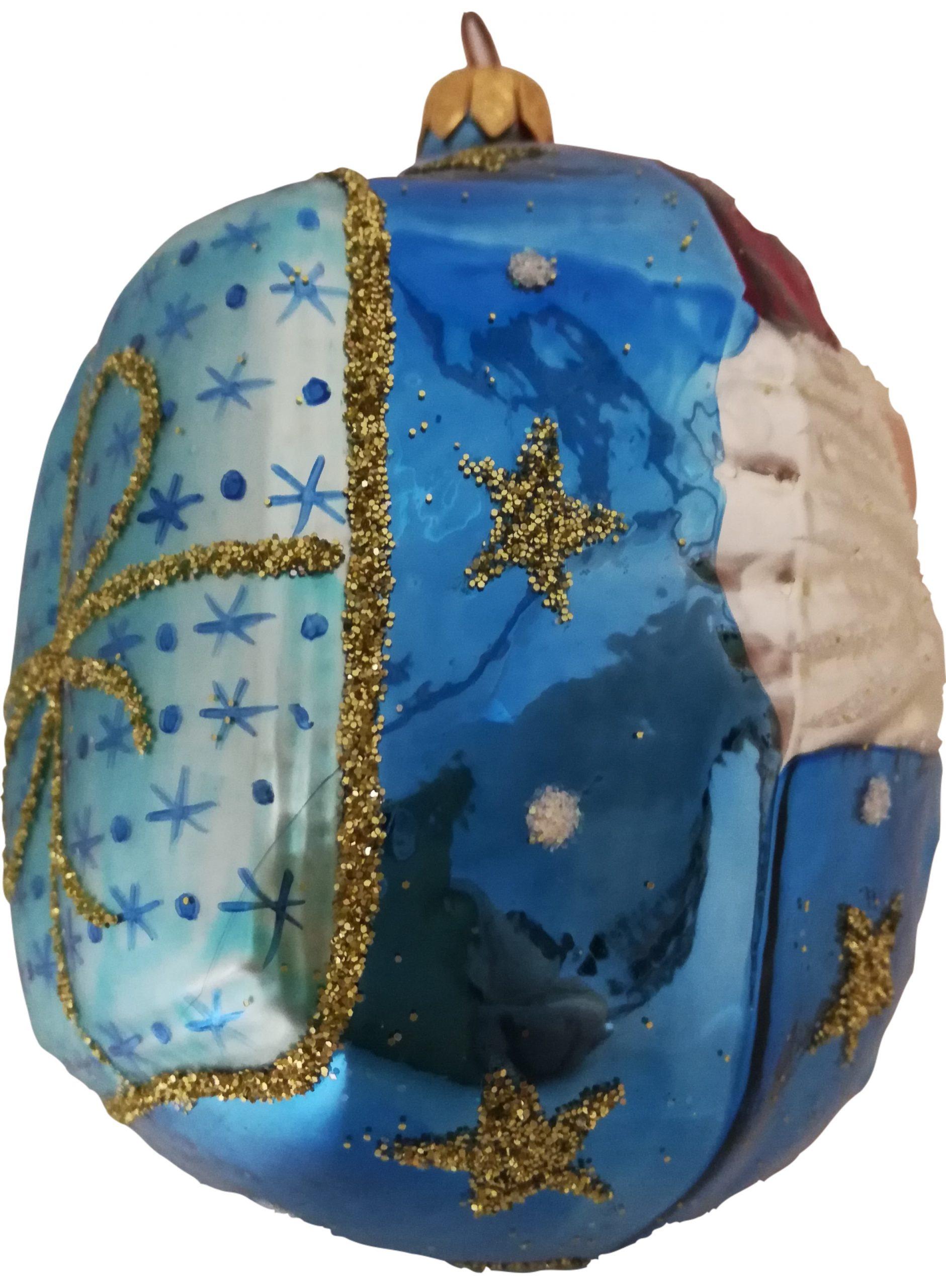 Santa head glass ornament - side view