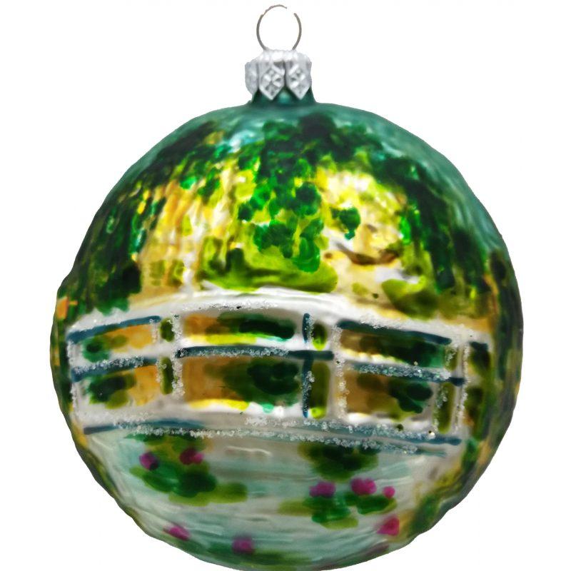 Claude Monet's the Japanese Bridge glass ornament